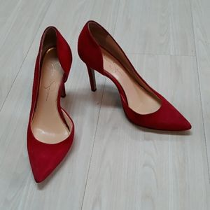 Jessica Simpson pointed toe red suede leather shoe